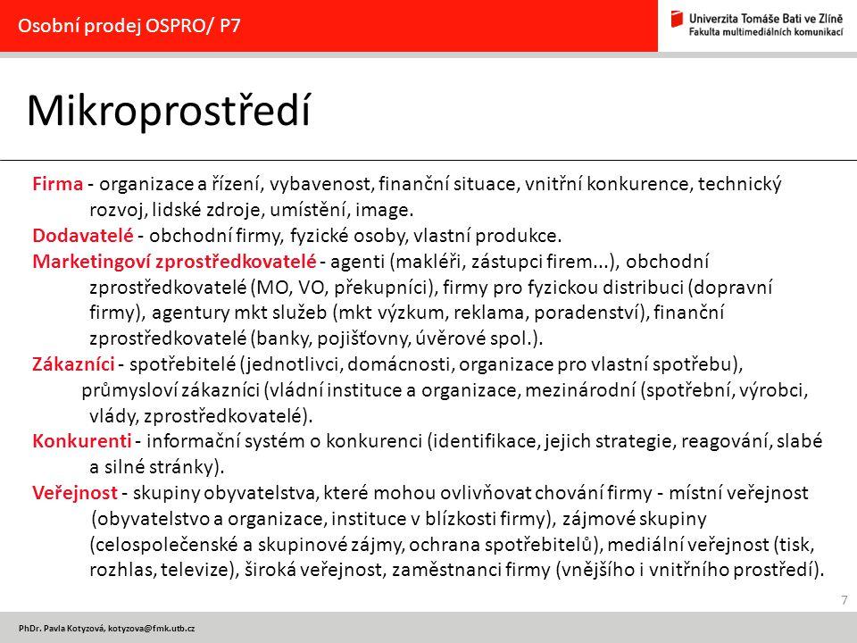 Mikroprostředí Osobní prodej OSPRO/ P7