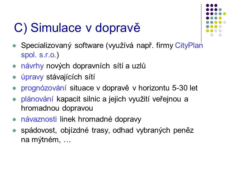 C) Simulace v dopravě Specializovaný software (využívá např. firmy CityPlan spol. s.r.o.) návrhy nových dopravních sítí a uzlů.