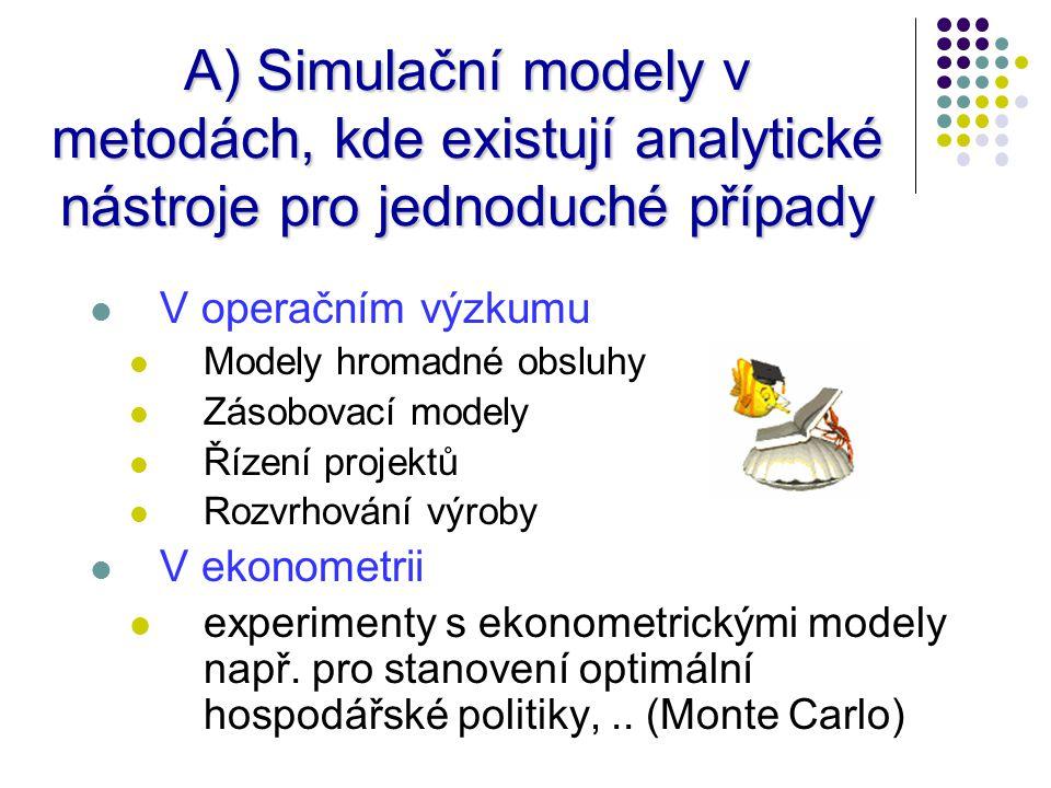A) Simulační modely v metodách, kde existují analytické nástroje pro jednoduché případy