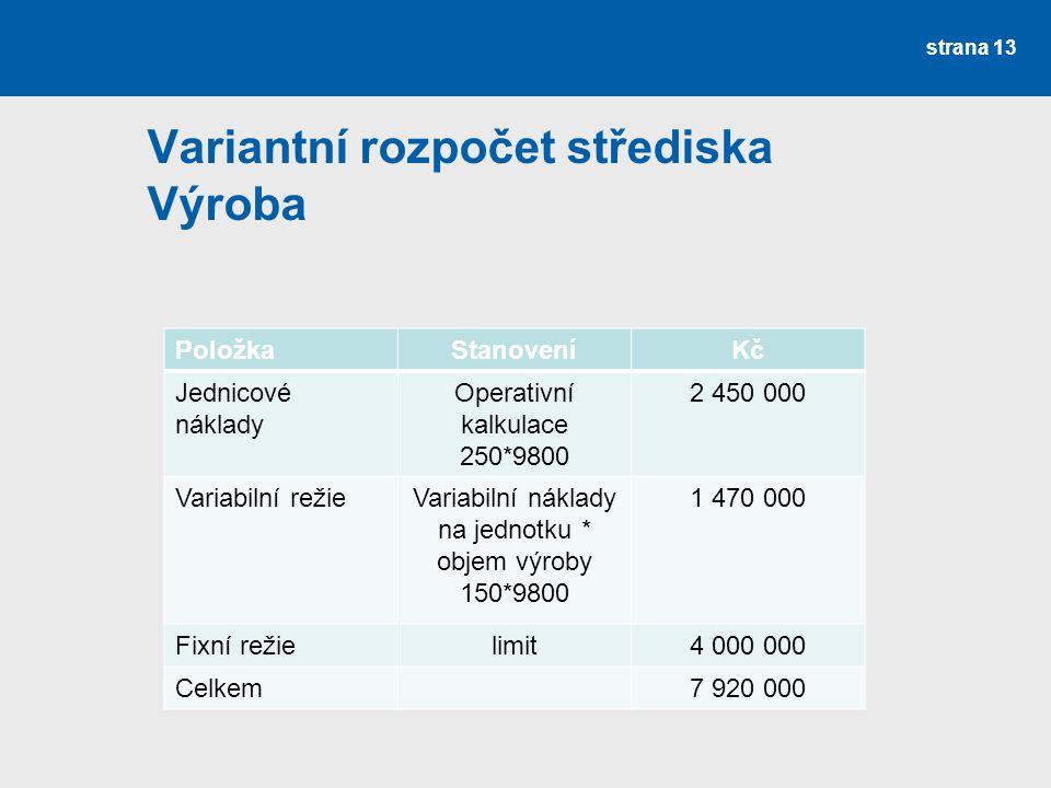 Variantní rozpočet střediska Výroba