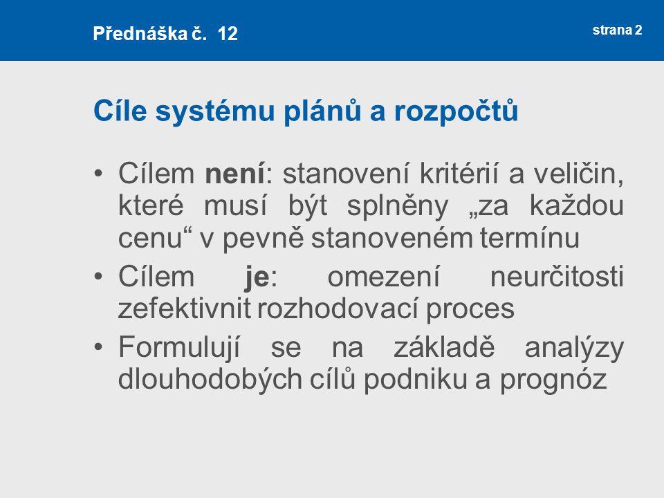 Cíle systému plánů a rozpočtů