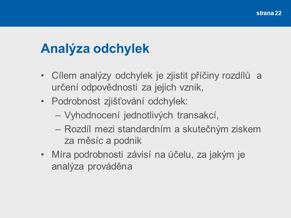 Analýza odchylek Cílem analýzy odchylek je zjistit příčiny rozdílů a určení odpovědnosti za jejich vznik,