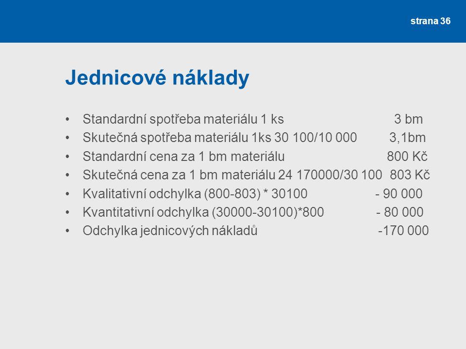 Jednicové náklady Standardní spotřeba materiálu 1 ks 3 bm