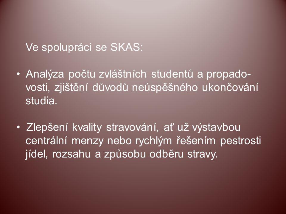 Ve spolupráci se SKAS: Analýza počtu zvláštních studentů a propado- vosti, zjištění důvodů neúspěšného ukončování.