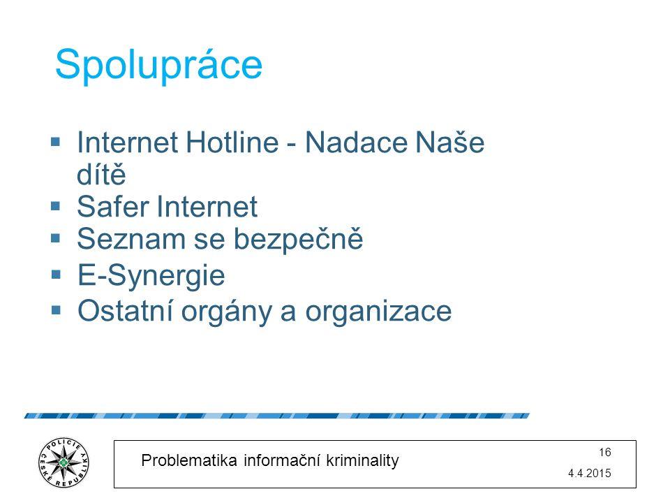 Spolupráce Internet Hotline - Nadace Naše dítě Safer Internet