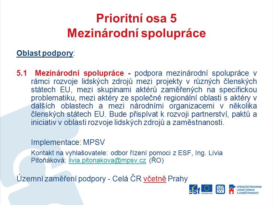 Prioritní osa 5 Mezinárodní spolupráce