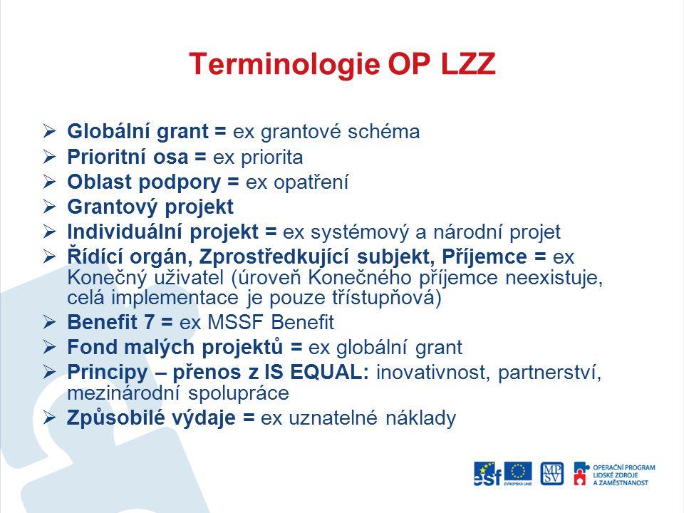 Terminologie OP LZZ Globální grant = ex grantové schéma