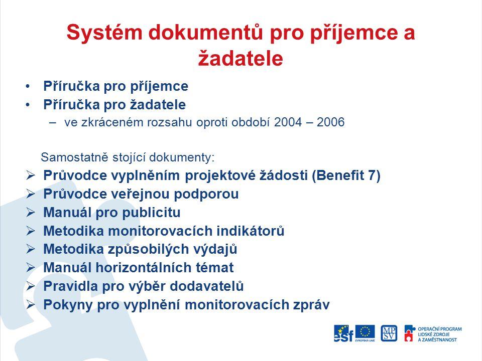 Systém dokumentů pro příjemce a žadatele
