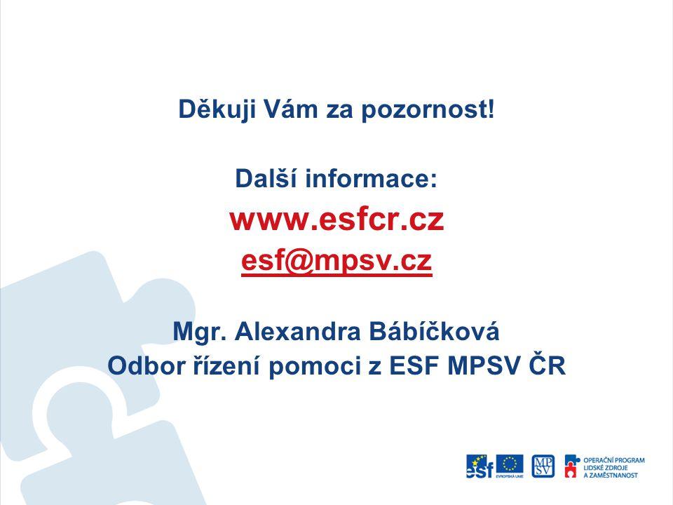 www.esfcr.cz esf@mpsv.cz Děkuji Vám za pozornost! Další informace:
