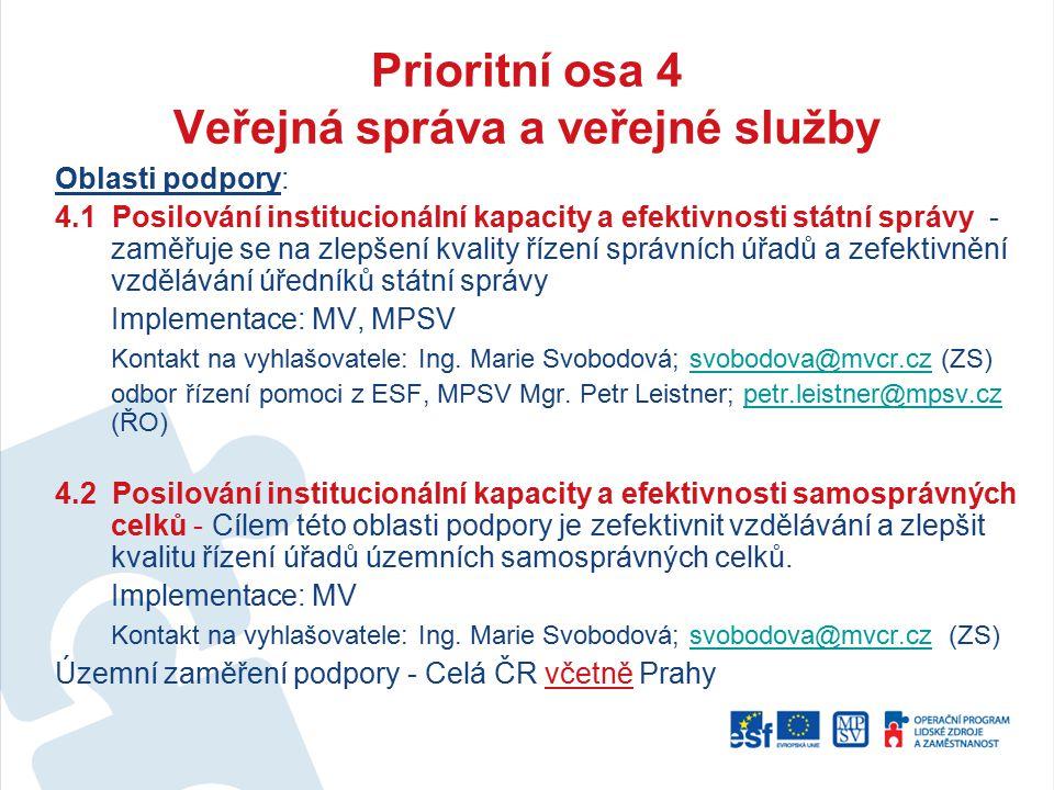 Prioritní osa 4 Veřejná správa a veřejné služby