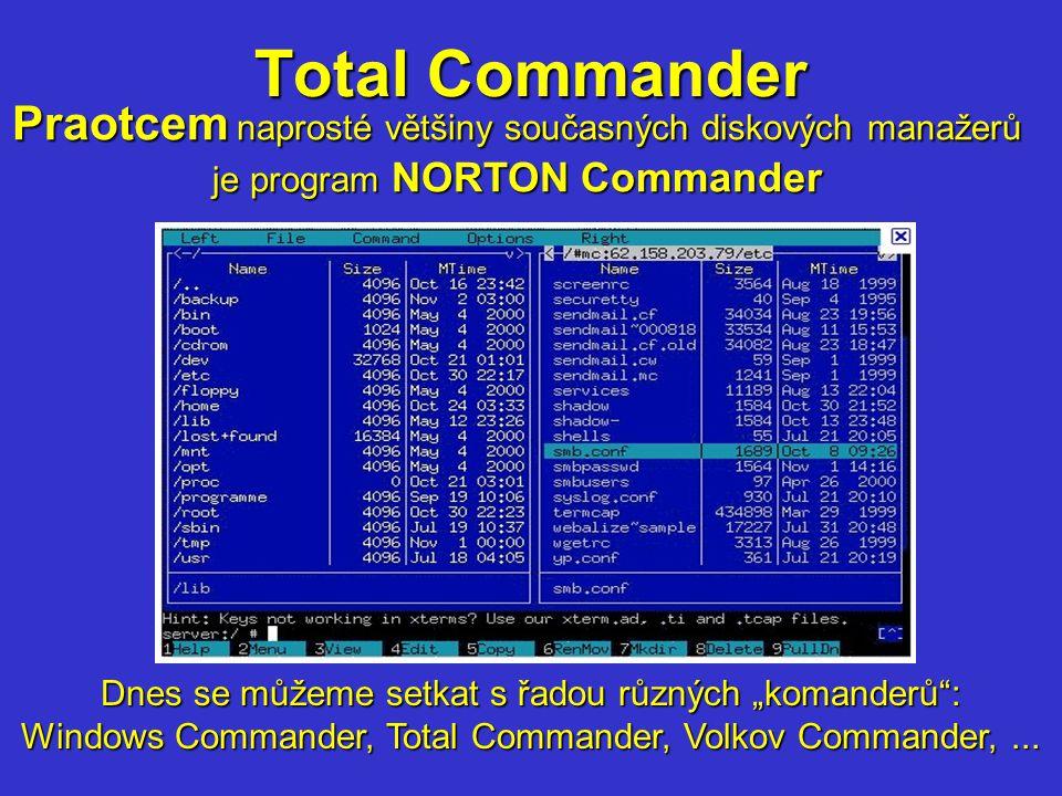Total Commander Praotcem naprosté většiny současných diskových manažerů. je program NORTON Commander.