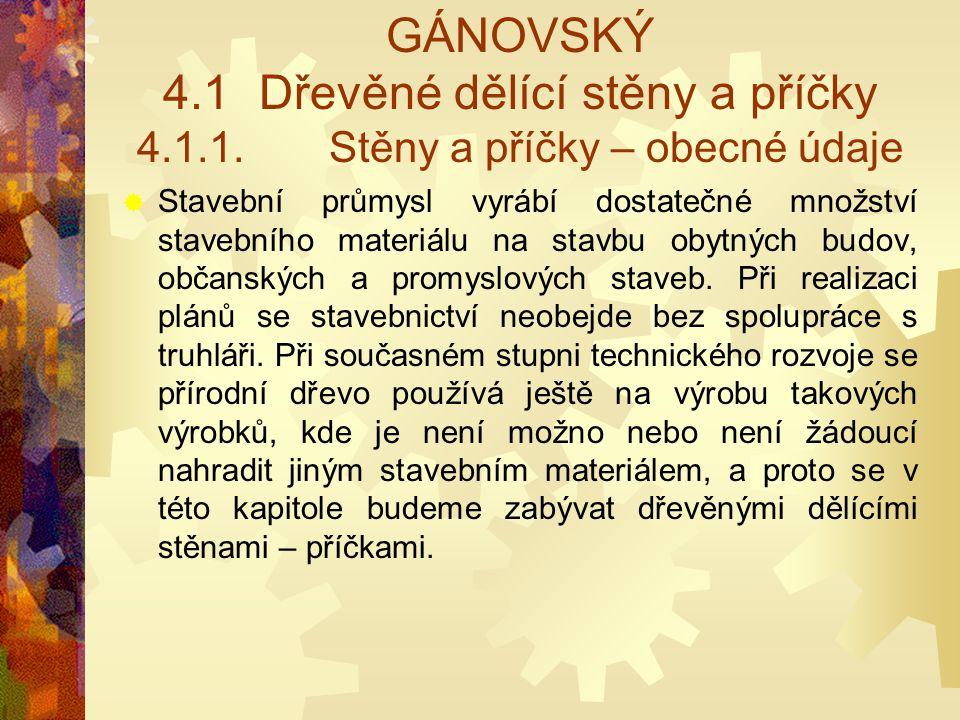 GÁNOVSKÝ 4. 1. Dřevěné dělící stěny a příčky 4. 1. 1
