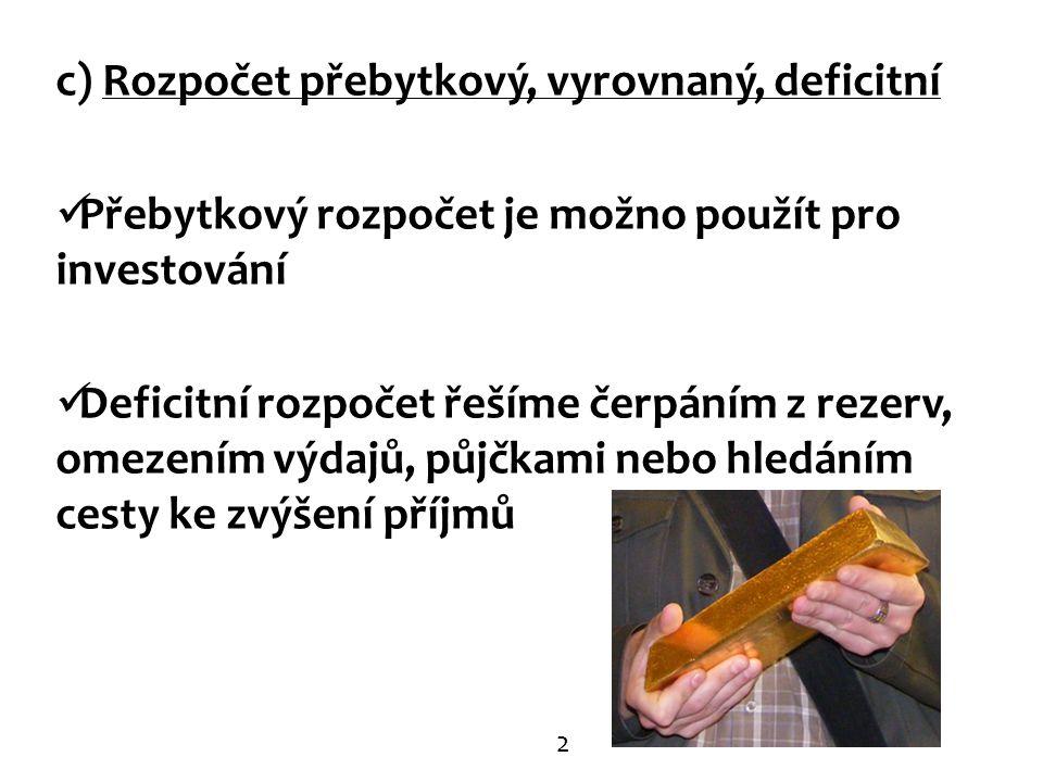 c) Rozpočet přebytkový, vyrovnaný, deficitní