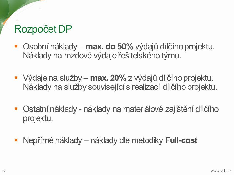 Rozpočet DP Osobní náklady – max. do 50% výdajů dílčího projektu. Náklady na mzdové výdaje řešitelského týmu.