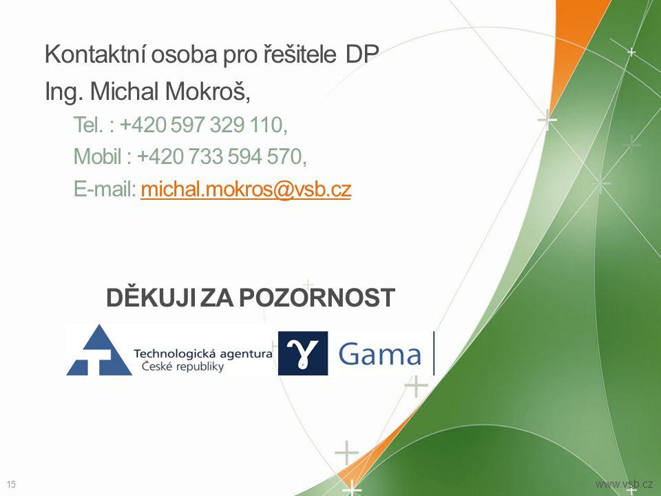 Kontaktní osoba pro řešitele DP Ing. Michal Mokroš,