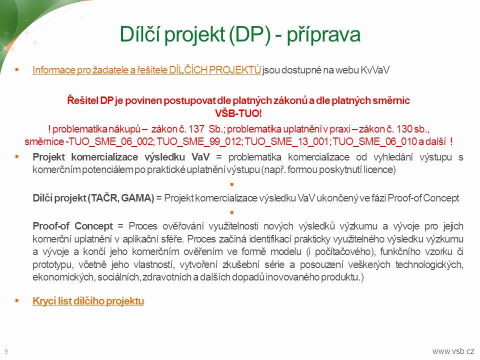 Dílčí projekt (DP) - příprava
