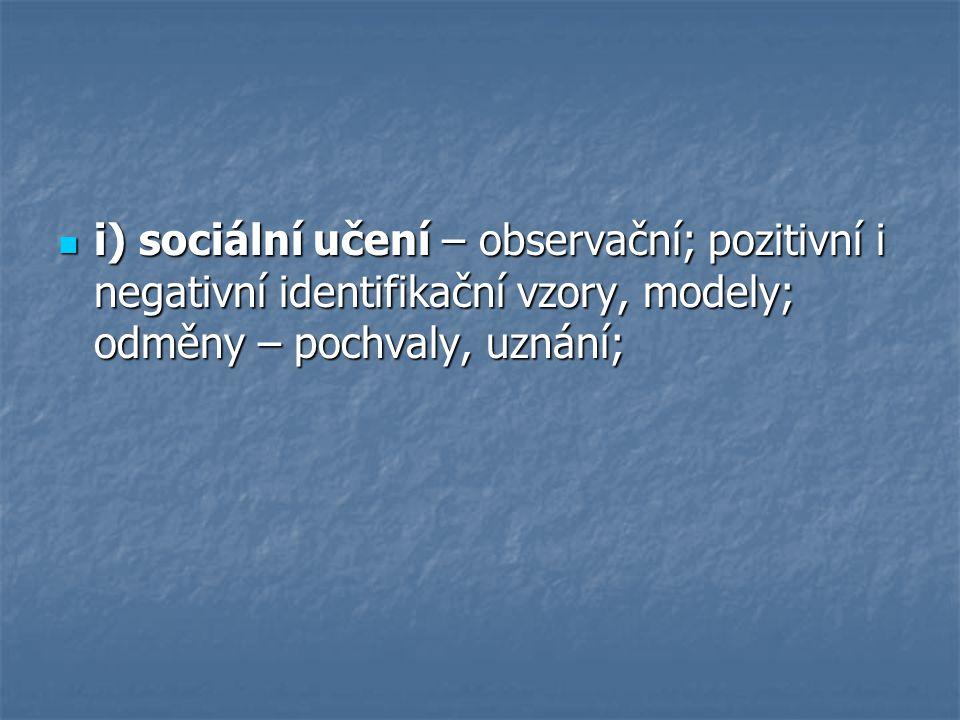 i) sociální učení – observační; pozitivní i negativní identifikační vzory, modely; odměny – pochvaly, uznání;