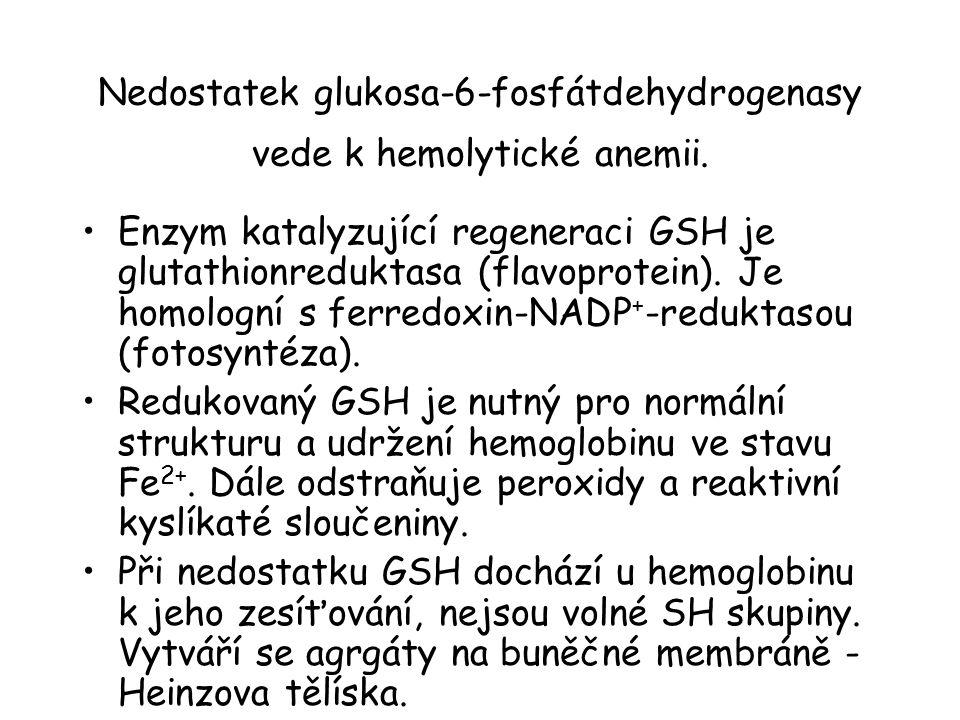 Nedostatek glukosa-6-fosfátdehydrogenasy vede k hemolytické anemii.