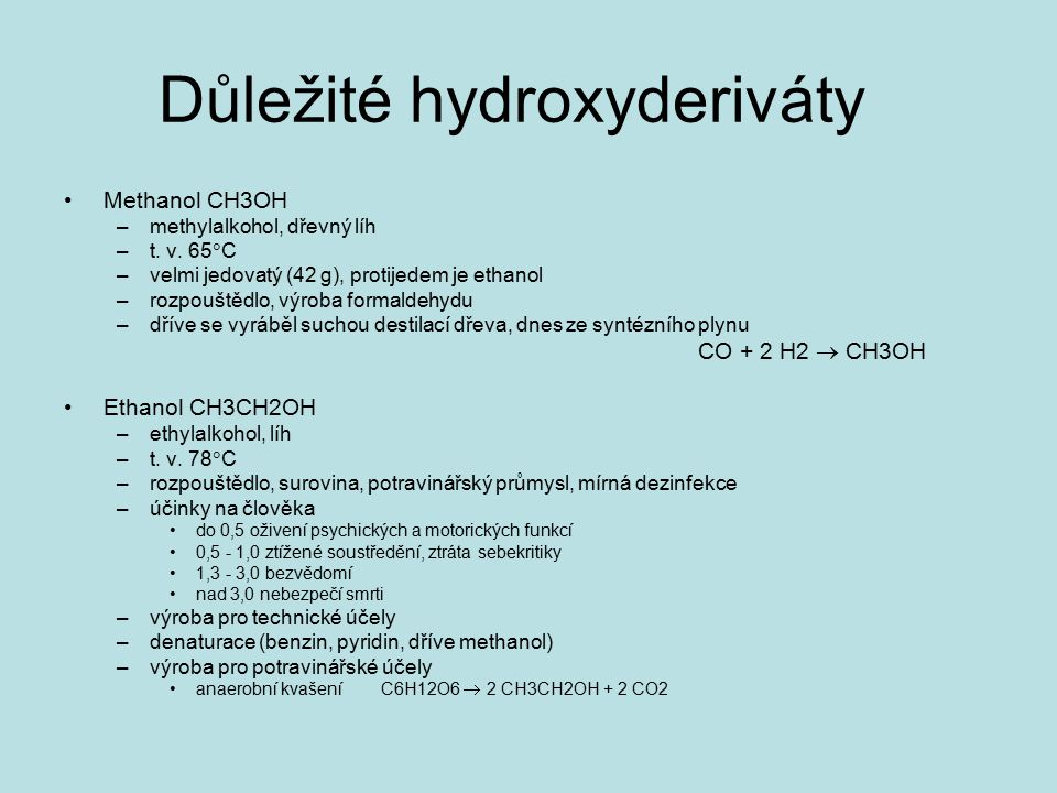 Důležité hydroxyderiváty