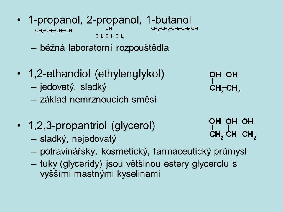 1-propanol, 2-propanol, 1-butanol