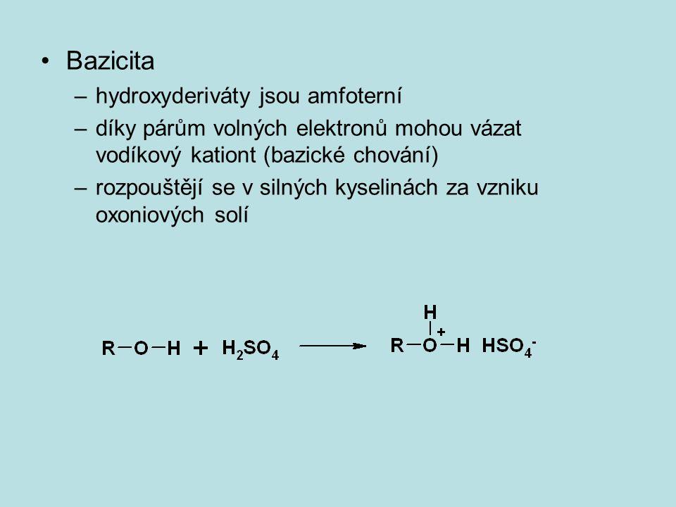 Bazicita hydroxyderiváty jsou amfoterní