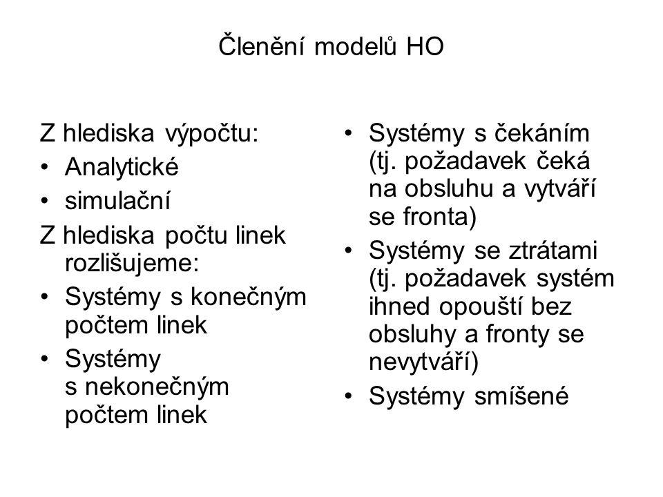 Členění modelů HO Z hlediska výpočtu: Analytické. simulační. Z hlediska počtu linek rozlišujeme: