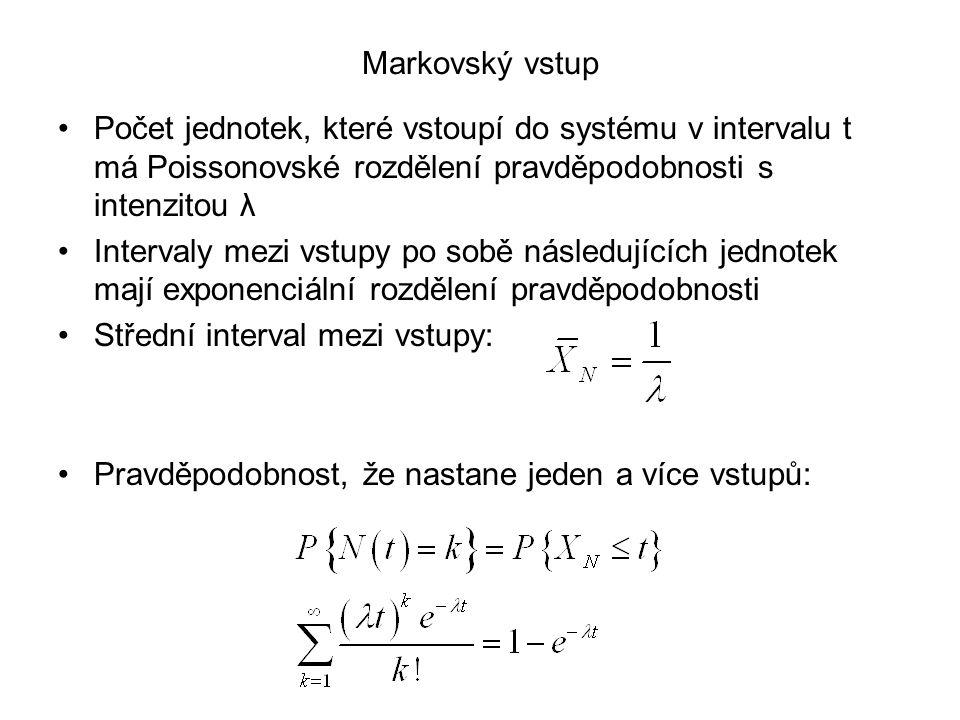 Markovský vstup Počet jednotek, které vstoupí do systému v intervalu t má Poissonovské rozdělení pravděpodobnosti s intenzitou λ.