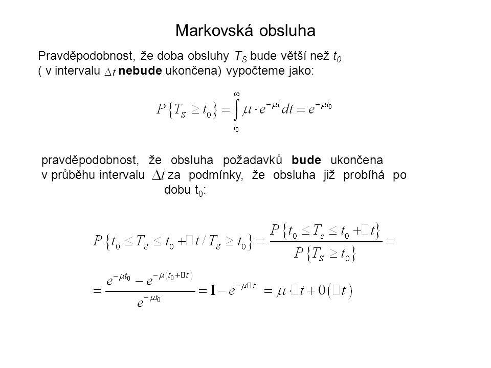 Markovská obsluha Pravděpodobnost, že doba obsluhy TS bude větší než t0. ( v intervalu nebude ukončena) vypočteme jako:
