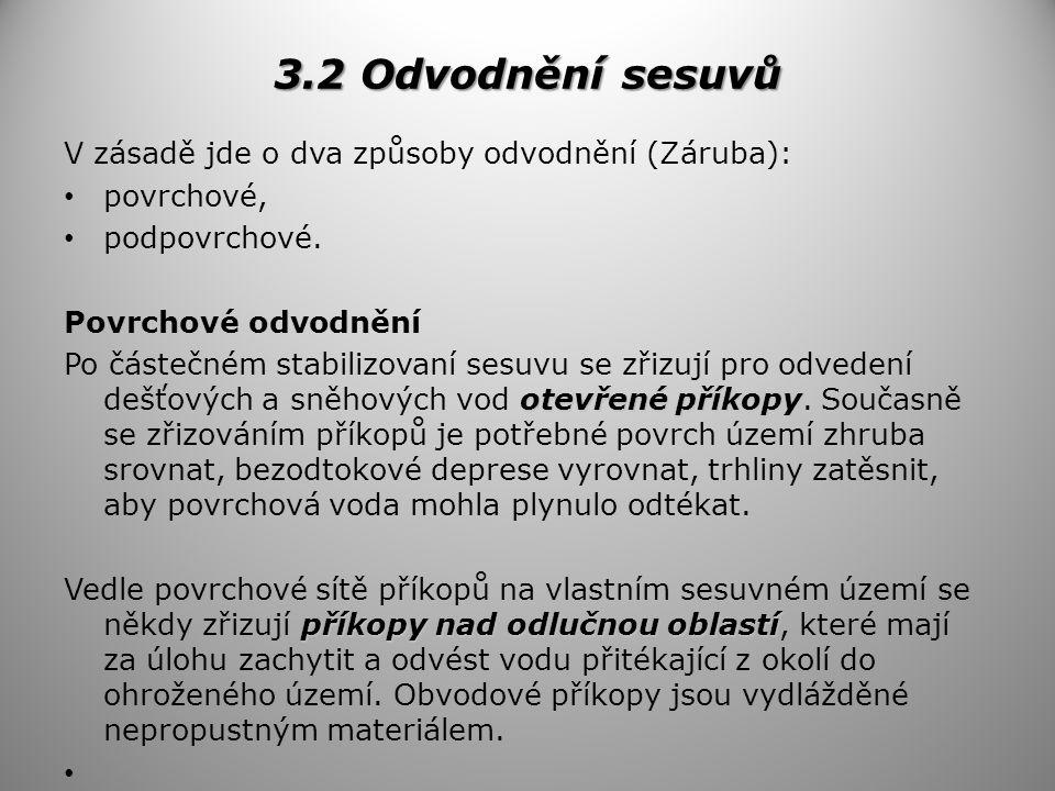 3.2 Odvodnění sesuvů V zásadě jde o dva způsoby odvodnění (Záruba):