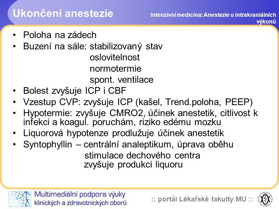 Ukončení anestezie Poloha na zádech Buzení na sále: stabilizovaný stav