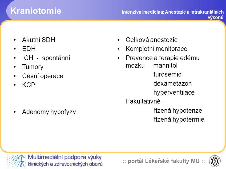 Kraniotomie Akutní SDH EDH ICH - spontánní Tumory Cévní operace KCP
