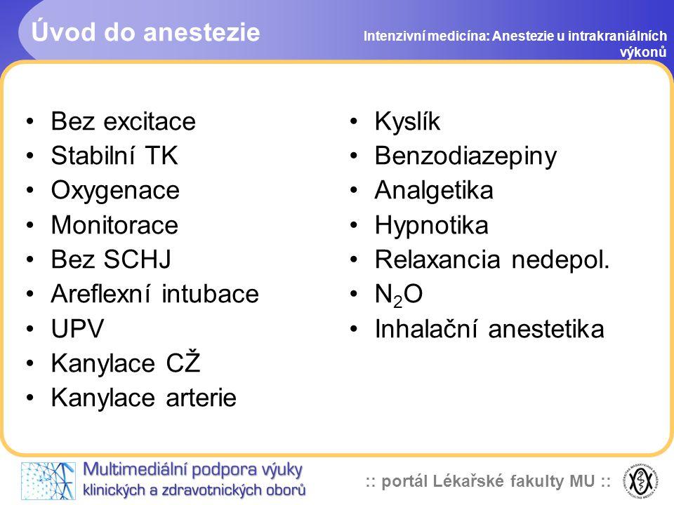 Úvod do anestezie Bez excitace Stabilní TK Oxygenace Monitorace