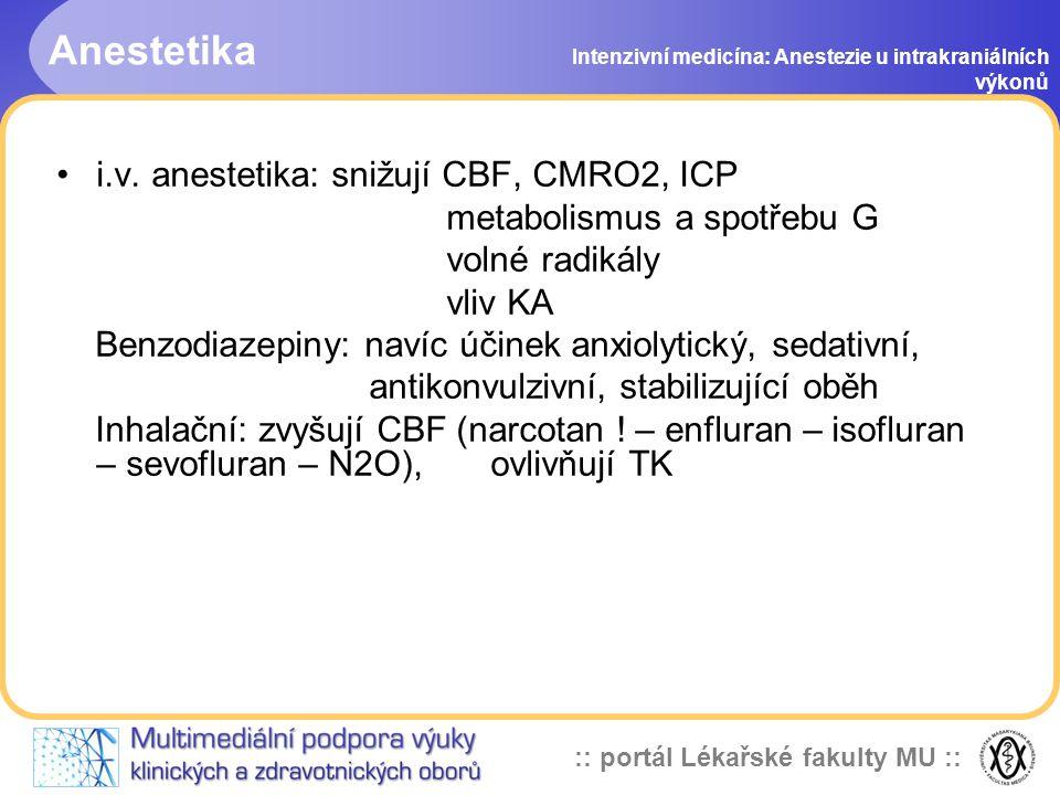 Anestetika i.v. anestetika: snižují CBF, CMRO2, ICP