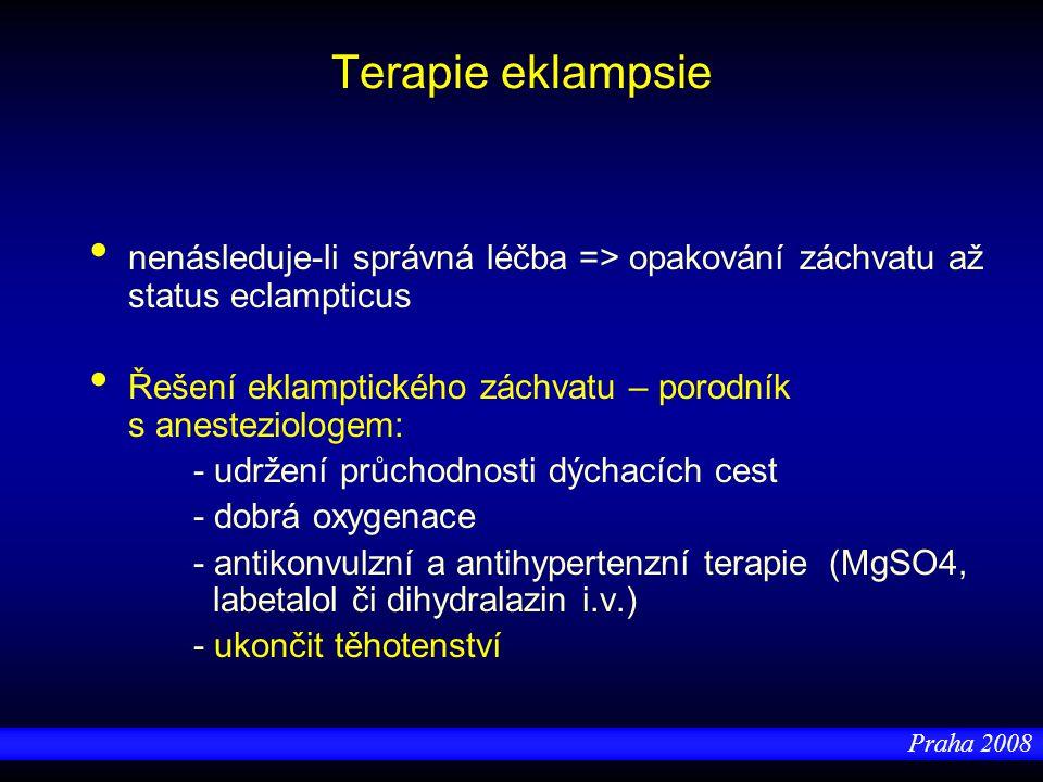 Terapie eklampsie nenásleduje-li správná léčba => opakování záchvatu až status eclampticus.