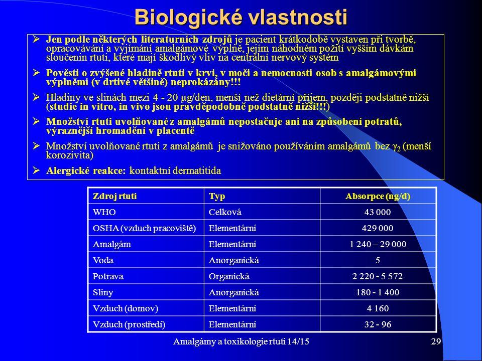 Biologické vlastnosti