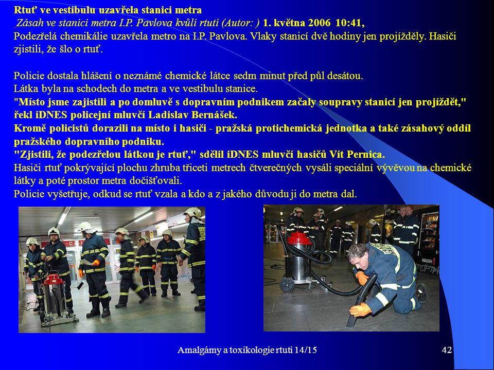 Amalgámy a toxikologie rtuti 14/15