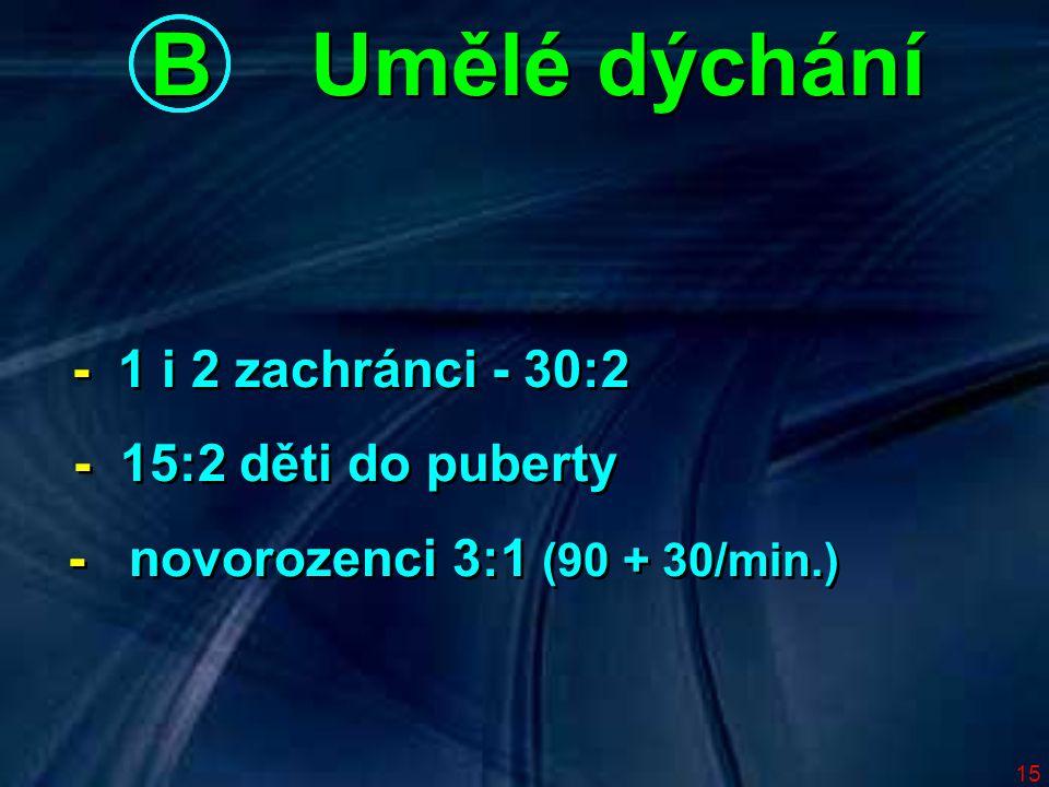 B Umělé dýchání - 1 i 2 zachránci - 30:2 - 15:2 děti do puberty