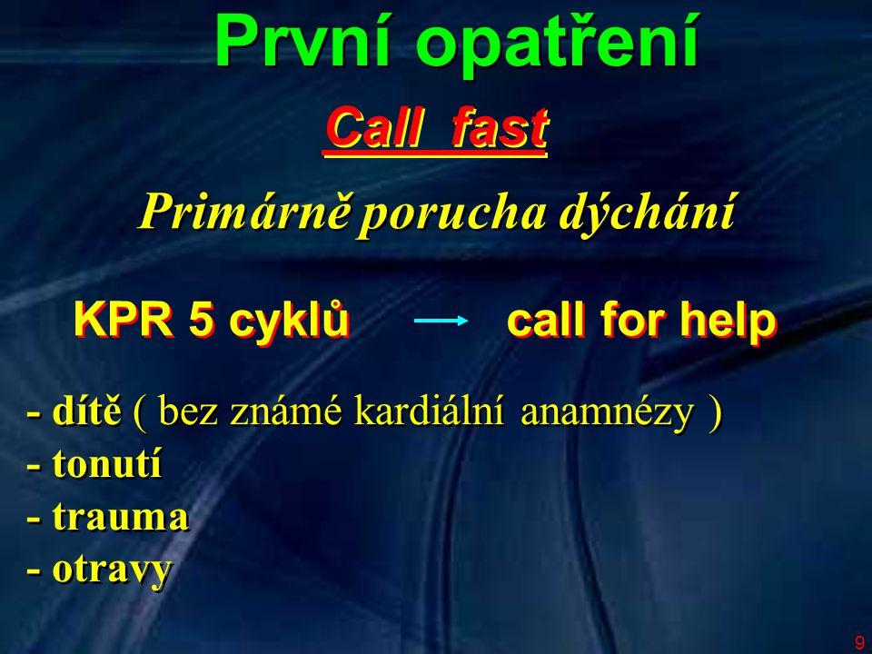 První opatření Call fast Primárně porucha dýchání KPR 5 cyklů