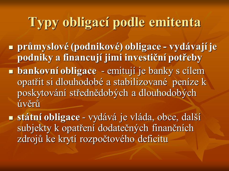 Typy obligací podle emitenta