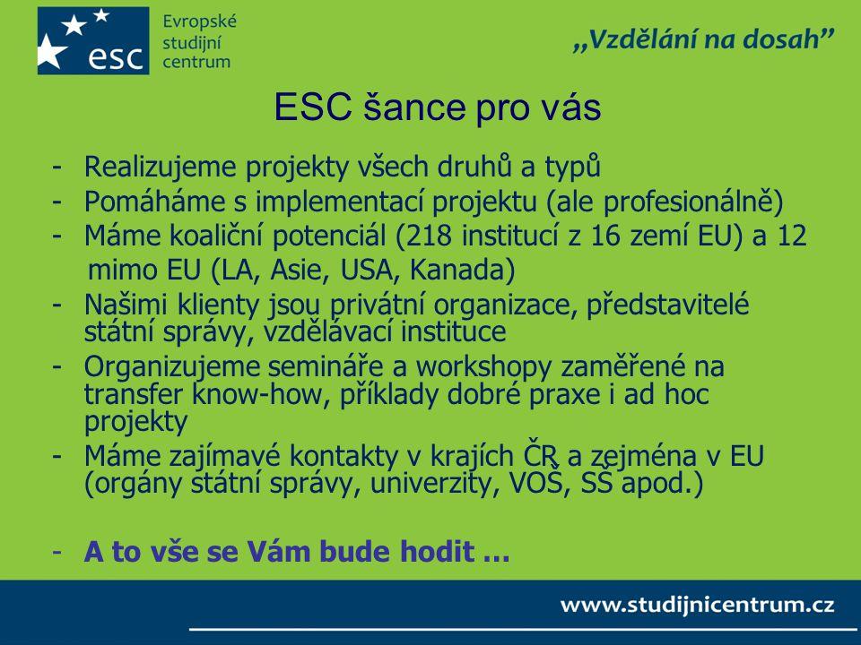 ESC šance pro vás Realizujeme projekty všech druhů a typů