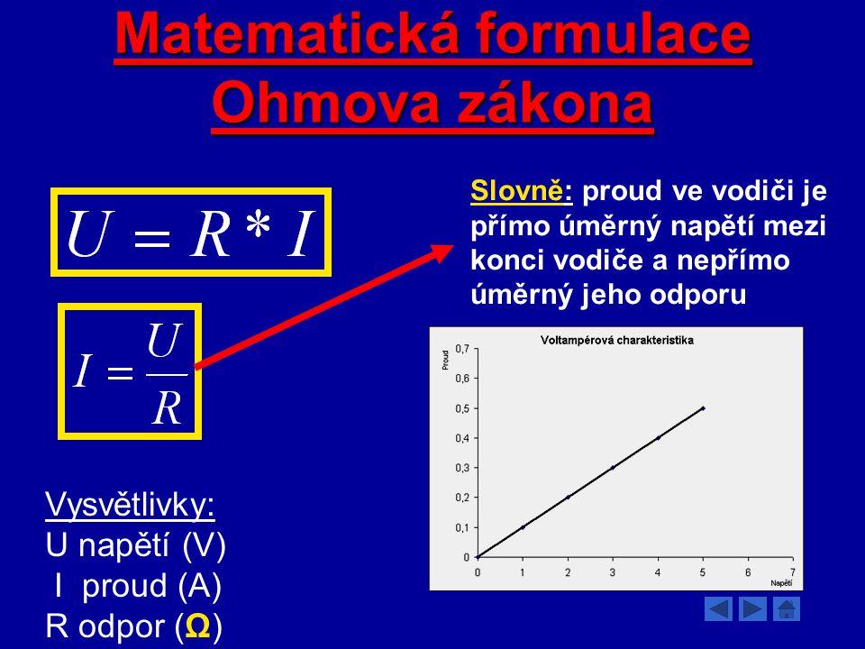Matematická formulace Ohmova zákona