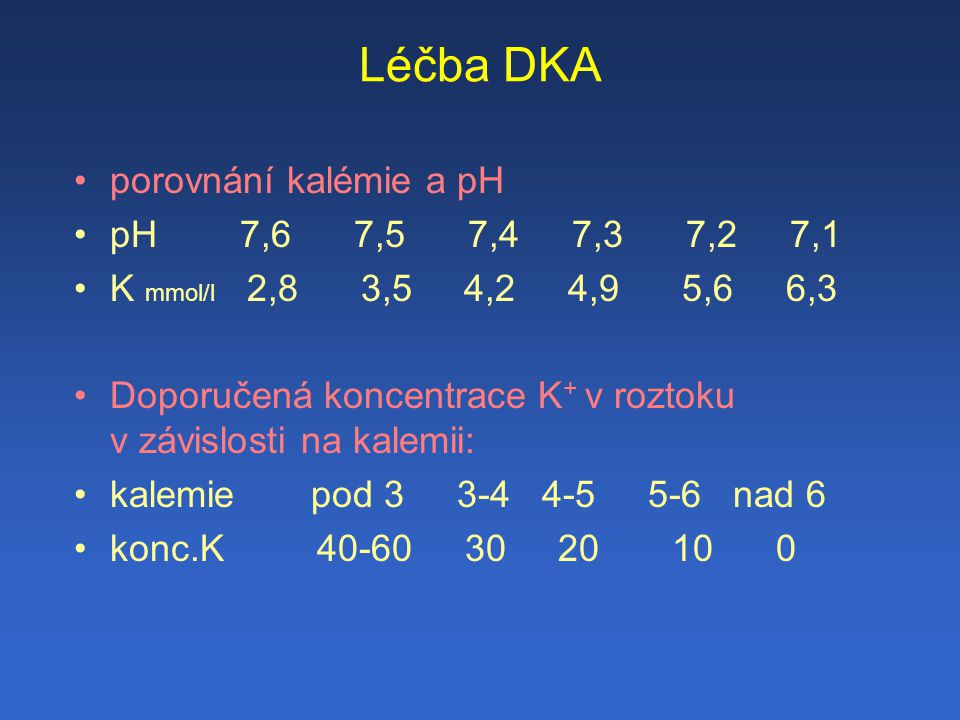 Léčba DKA porovnání kalémie a pH pH 7,6 7,5 7,4 7,3 7,2 7,1
