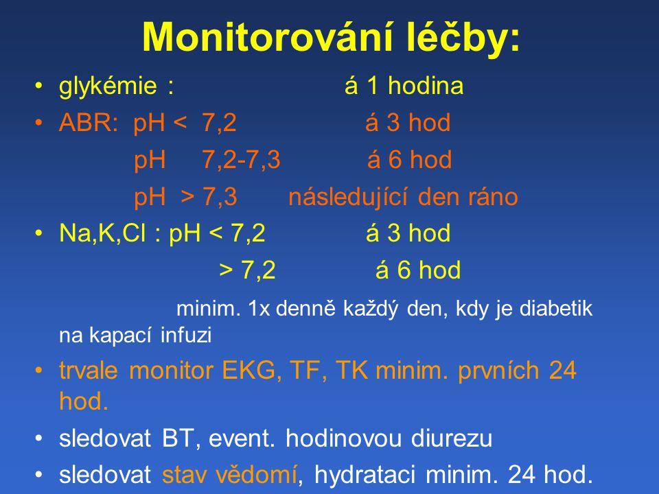 Monitorování léčby: glykémie : á 1 hodina ABR: pH < 7,2 á 3 hod