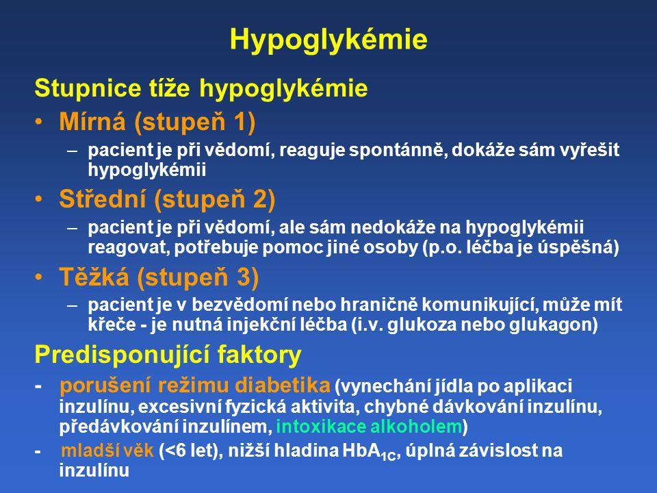 Hypoglykémie Stupnice tíže hypoglykémie Mírná (stupeň 1)