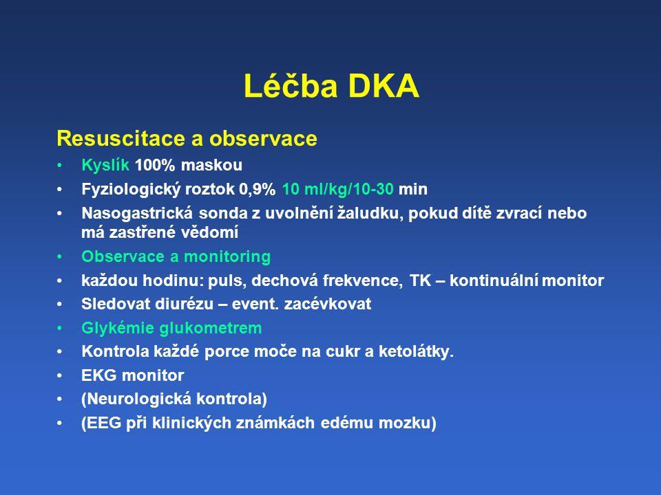 Léčba DKA Resuscitace a observace Kyslík 100% maskou