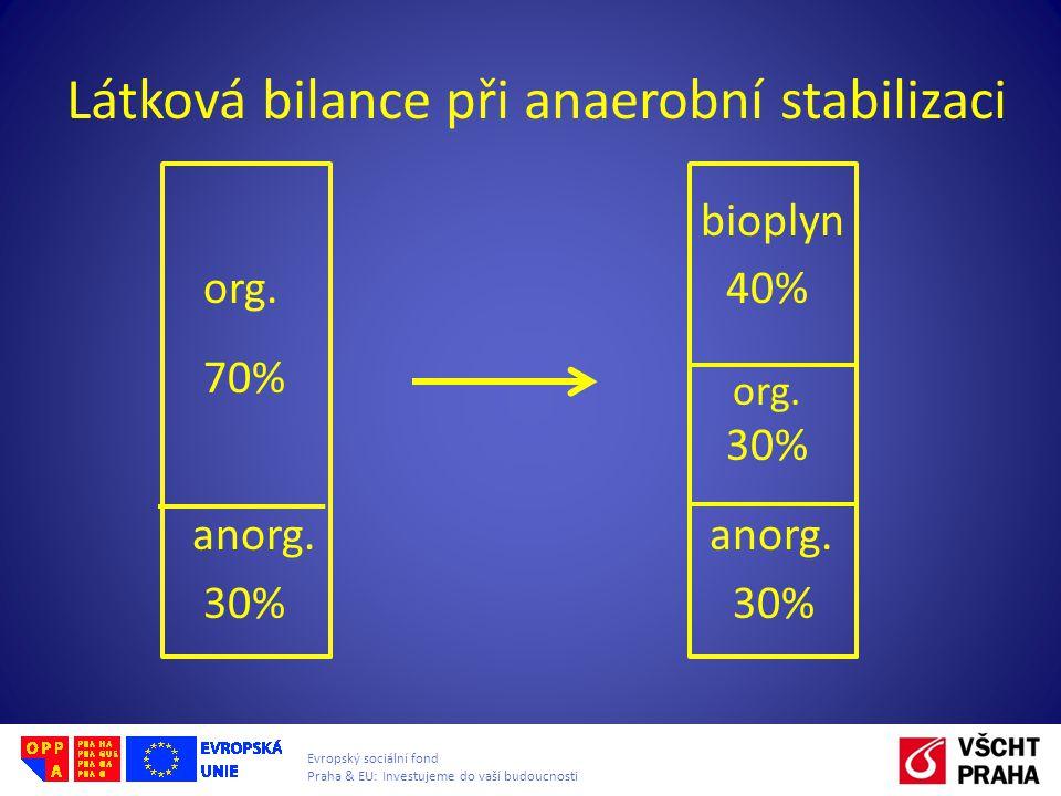 Látková bilance při anaerobní stabilizaci