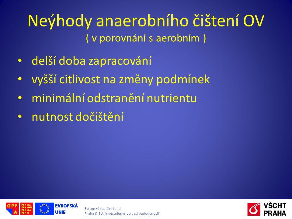 Neýhody anaerobního čištení OV ( v porovnání s aerobním )