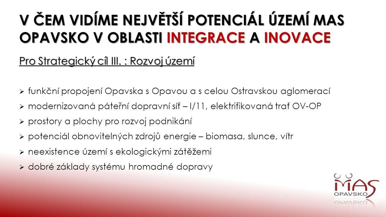 V čem vidíme největší potenciál ÚZEMÍ MAS OPAVSKO v oblasti integrace a inovace