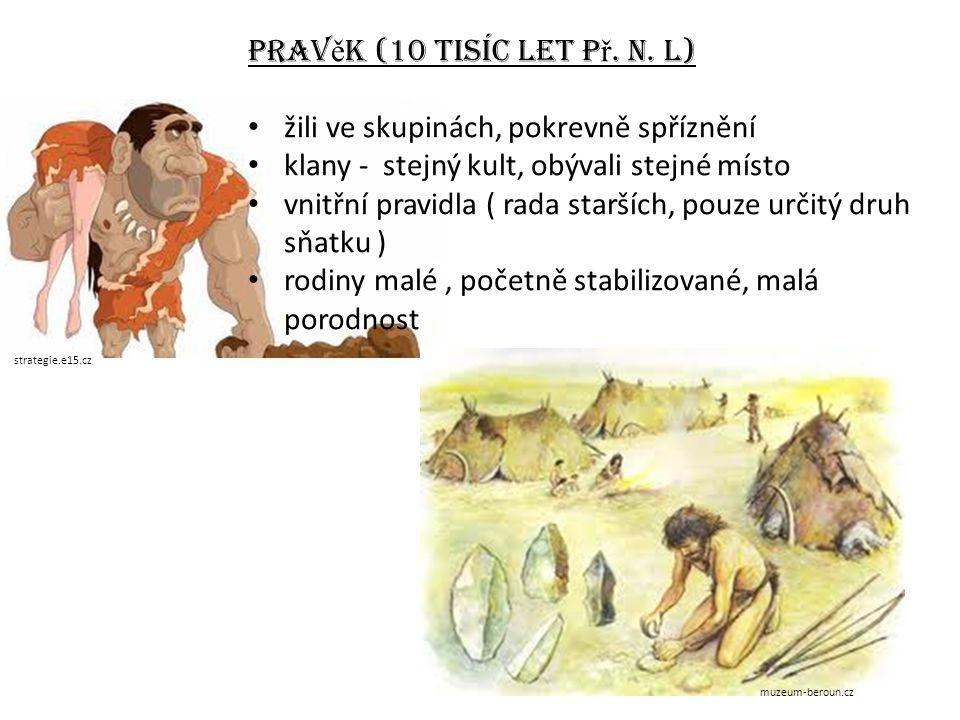 Pravěk (10 tisíc let př. n. l) žili ve skupinách, pokrevně spříznění