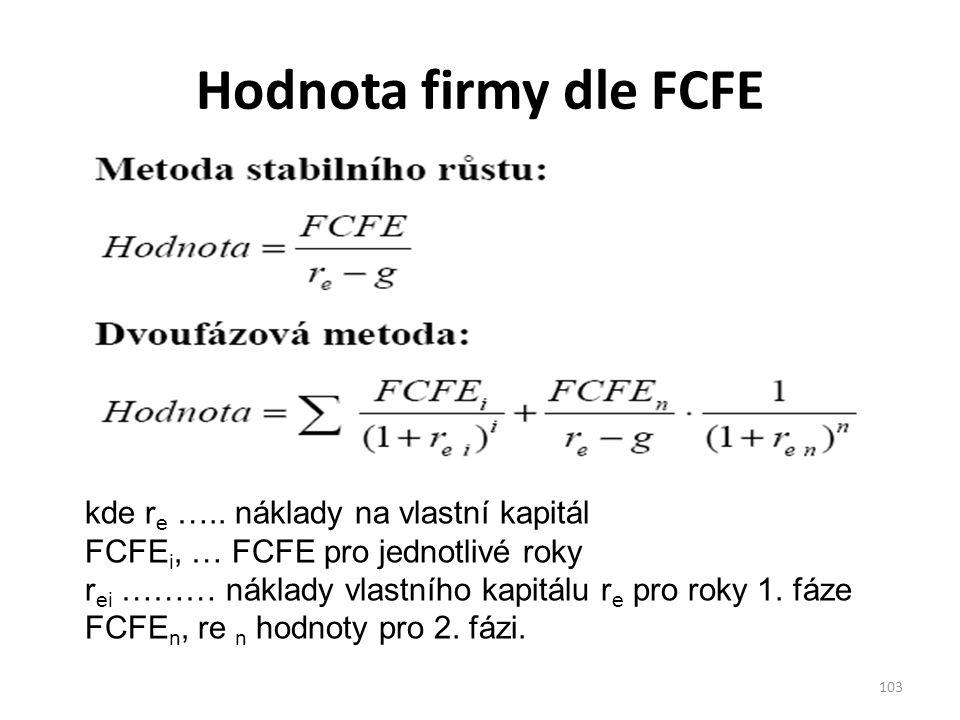 Hodnota firmy dle FCFE kde re ….. náklady na vlastní kapitál